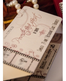 Invitatie unicat decor bilet cinema