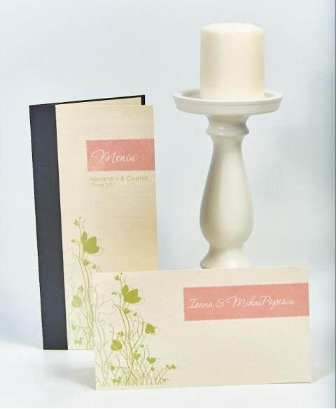Card masa tip plic dar decor flori gradina
