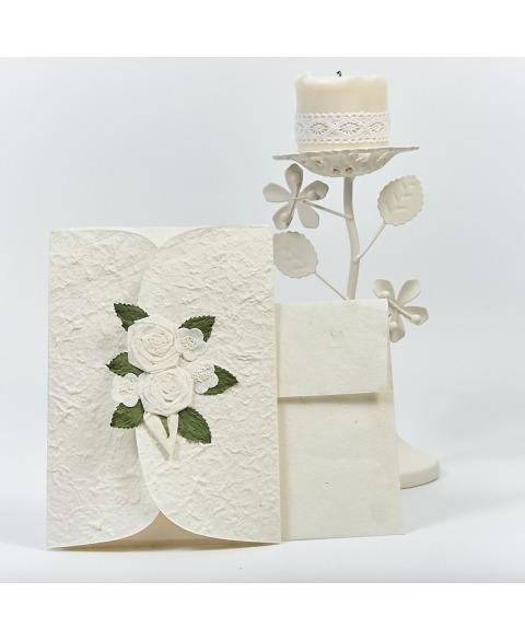 Invitatie nunta cu trandafiri albi