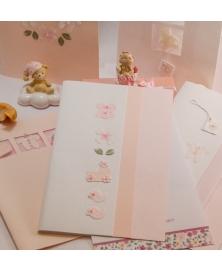 Invitatie botez alb-roz