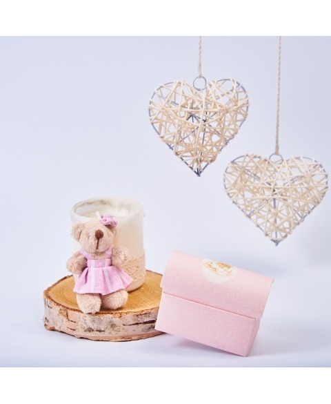 Marturie cutiuta botez cu ursulet roz -Cofanetto