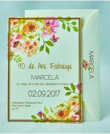 Invitatie flori de acuarela