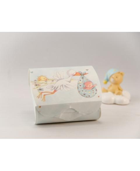 Marturie cutiuta botez cu barza albasru -Couvette