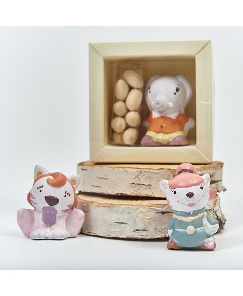 Cutiuta si figurina ceramica elefantica Lella