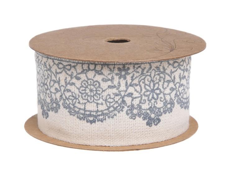 Ribon panza bumbac imprimat cu motive florale