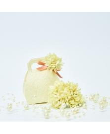 Buchet Flori decorative macrame cu perluta -Ivory