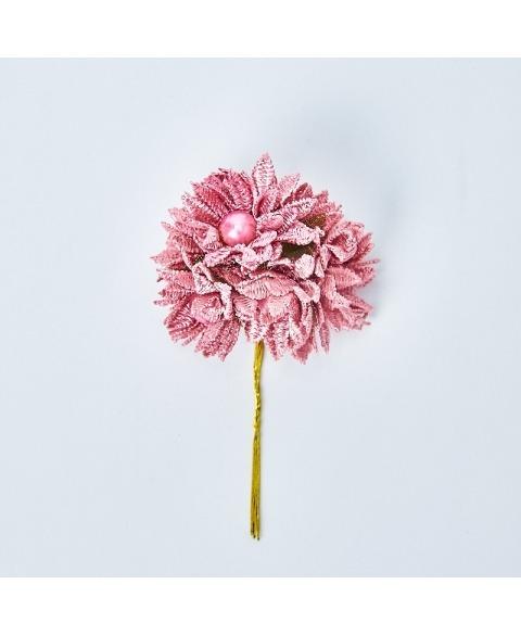 Buchet Flori decorative macrame cu perluta -roz antic
