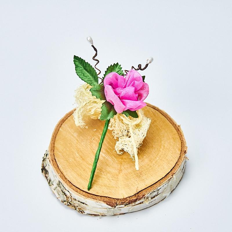 Trandafir decorativ organza fuxia