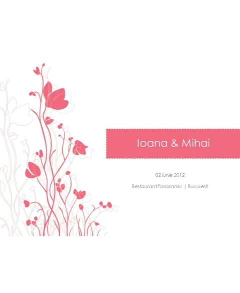 Invitatie electronica interactiva flori gradina roz