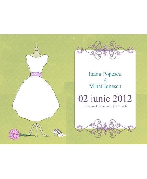 Invitatie electronica interactiva rochie de mireasa