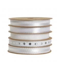 Ribon  5 funde texturi diferite alb-argintiu