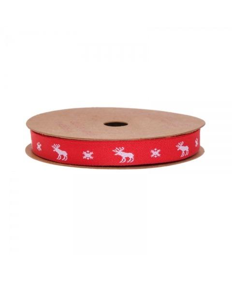 Ribon panglica rosie cu imprimeu ren