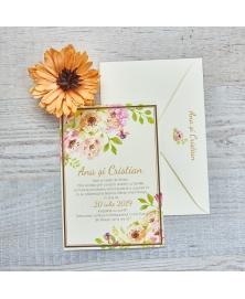 Invitatie online flori de acuarela
