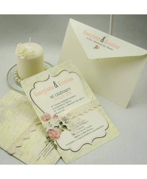 Invitatie vintage trandafiri de gradina