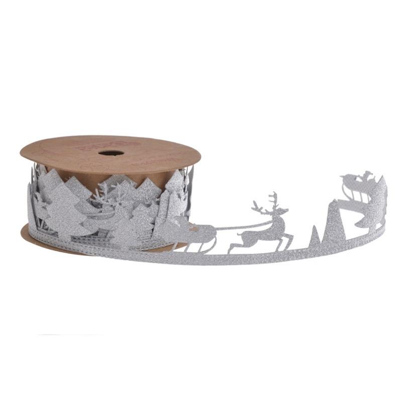 Funda decorativa de Craciun cu reni argintie