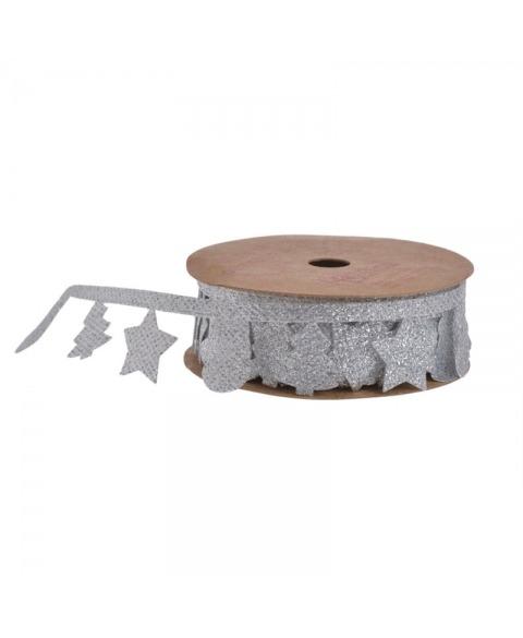 Funda argintie decorativa de Carciun cu  braduti si stelute