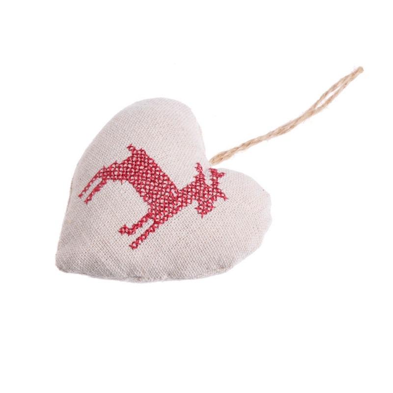 Decoratiune textila Craciun -Inima cu ren