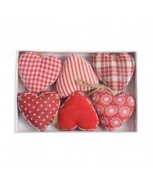 Decoratiuni textile Craciun -inimi rosii
