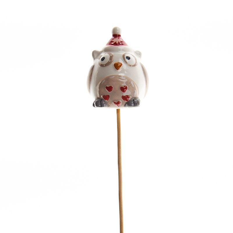 Decoratiune de Craciun din ceramica bufnite pe bat