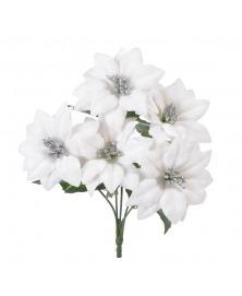 Buchet poinsettia catifelata -alb