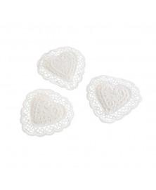 Set inimi decorative macrame cu adeziv