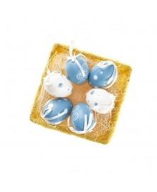 Oua de Paste cromatica alb albastru
