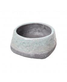 Vas ceramic decorativ glazurat verde gri