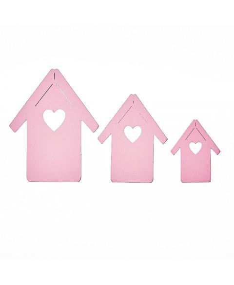 Set casute din lemn roz