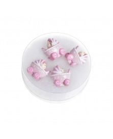 Carucior bebe roz cu adeziv