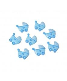 Carucior albastru cu adeziv