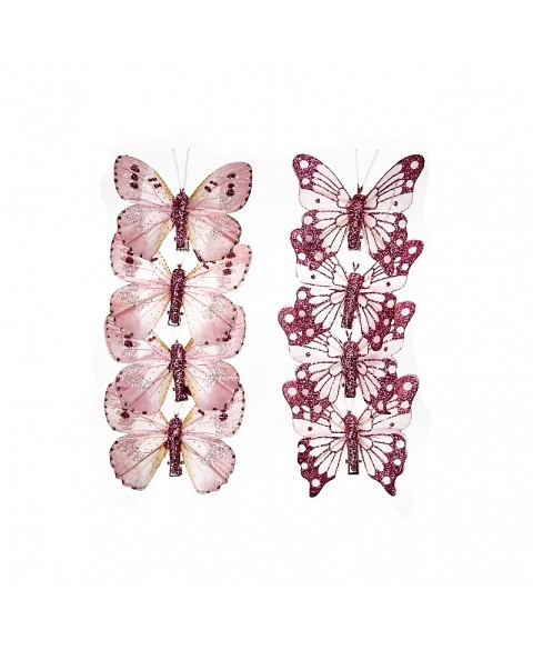 Set fluturi roz cu gliter