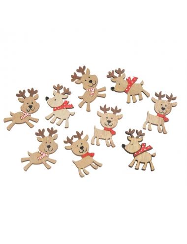 Set ornamente din lemn reni de Craciun