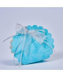 Marturie cutiuta albastra cu flori -Borsa Rotonda