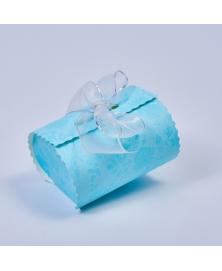Marturie cutiuta albastra cu flori -Bombon