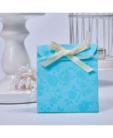 Marturie cutiuta albastra cu flori -Sacchetto