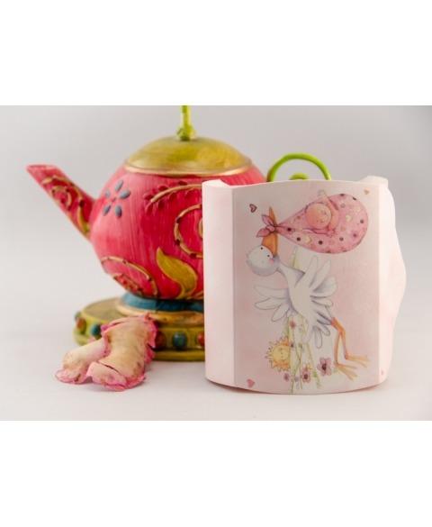 Marturie cutiuta botez cu barza roz -Couvette
