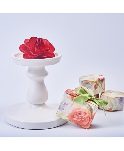 Marturie cutiuta cu trandafir -Valigetta