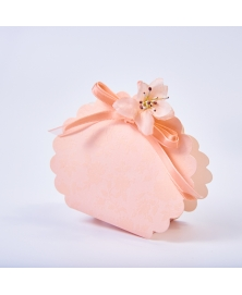 Marturie cutiuta roz cu flori -Borsa Rotonda
