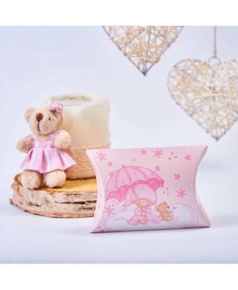 Marturie cutiuta botez roz cu stelute -Busta