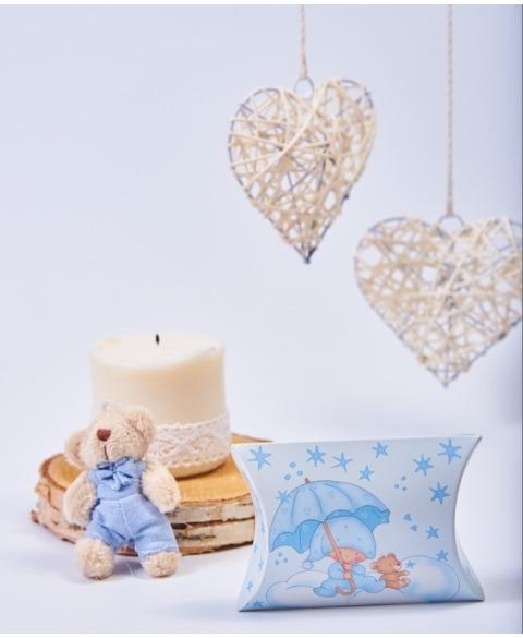 Marturie cutiuta botez albastra cu stelute -Busta