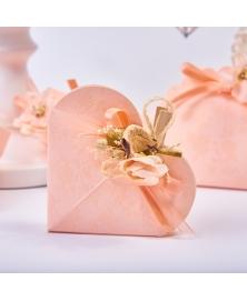 Marturie cutiuta roz cu flori -Cuore