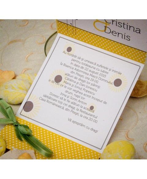 Invitatie unicat decor floarea soarelui