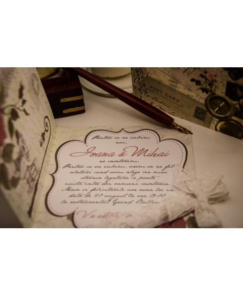 Invitatie vintage tema Paris